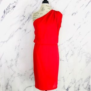 FENDI Red Jasmine One Shoulder Silk Woven Dress